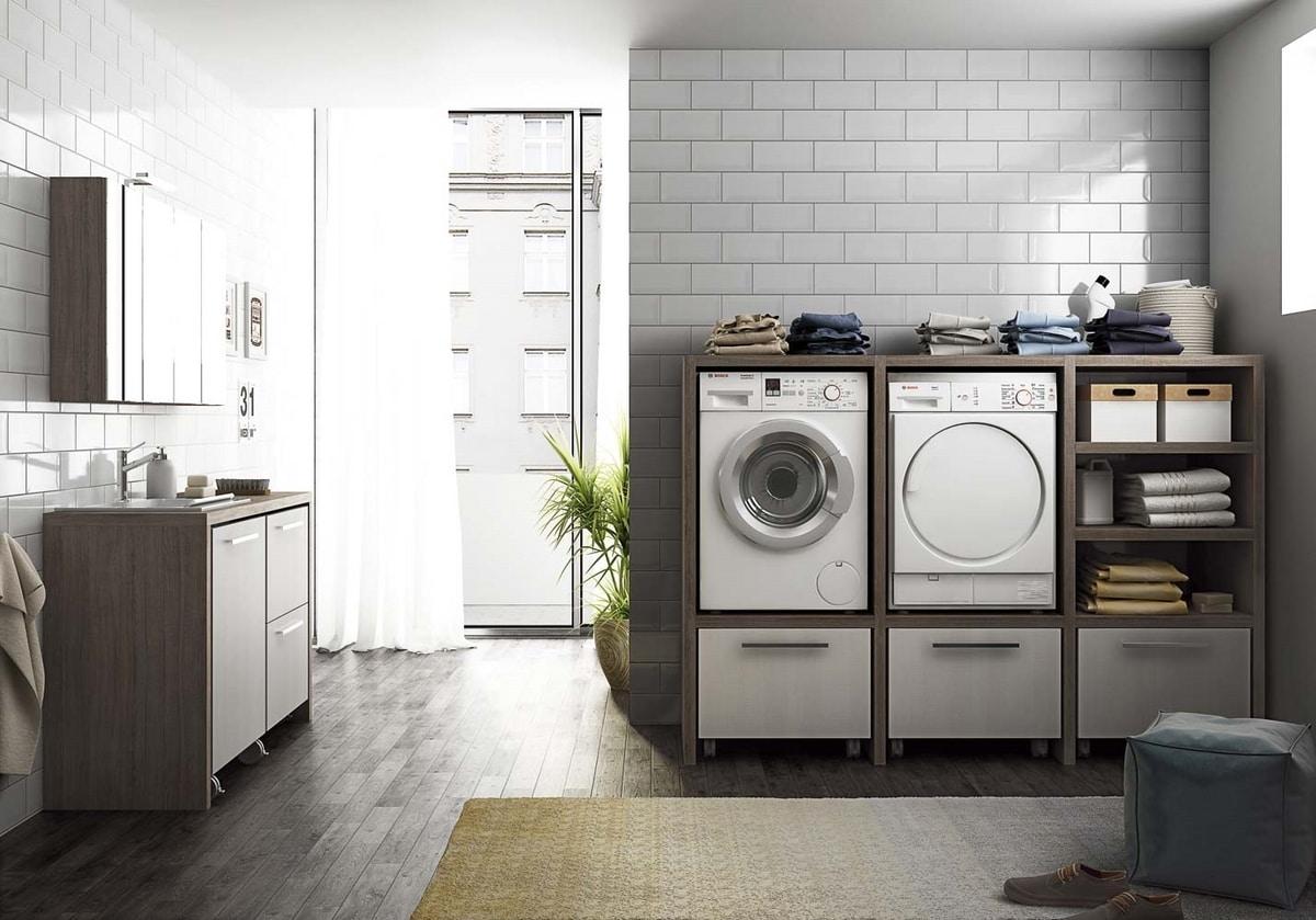 Mobile lavanderia componibile con lavatoio idfdesign