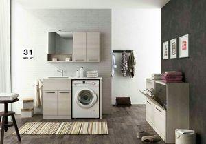 LAVANDERIA 8, Mobile lavanderia componibile con ante a battente con lavatoio