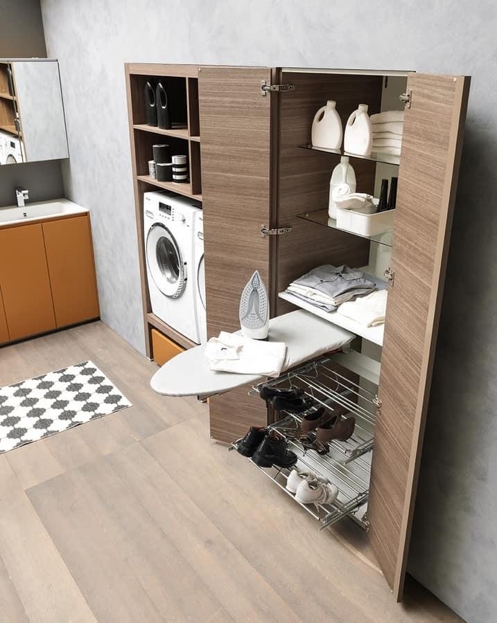 Mobile per lavanderia con asse da stiro lavabo e specchiera idfdesign - Asse da bagno ...