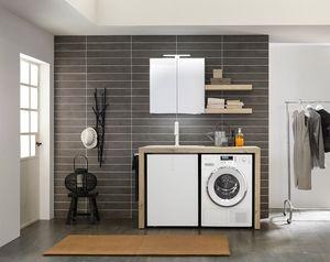 Lime Wash comp.04, Mobile da lavanderia dalle dimensioni contenute, salvaspazio