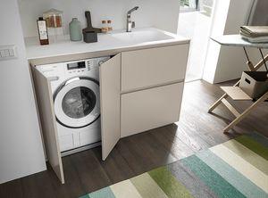 Lime Wash comp.05, Mobile compatto per lavanderia, con vano lavatrice