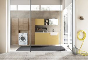 Lime Wash comp.09, Armadio da lavanderia con lavabo integrato