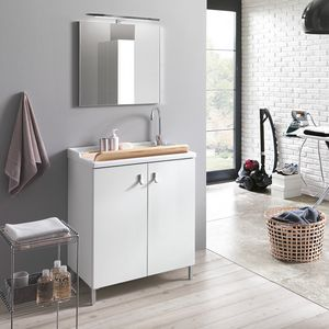 Smart comp. 02, Lavatoio con ampio lavabo e specchiera