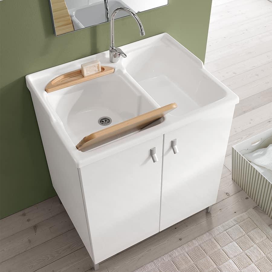 Mobile da lavanderia con doppio lavabo in acrilico idfdesign - Arredo per lavanderia di casa ...