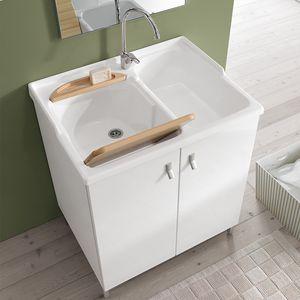 Smart comp. 03, Mobile da lavanderia con doppio lavabo in acrilico