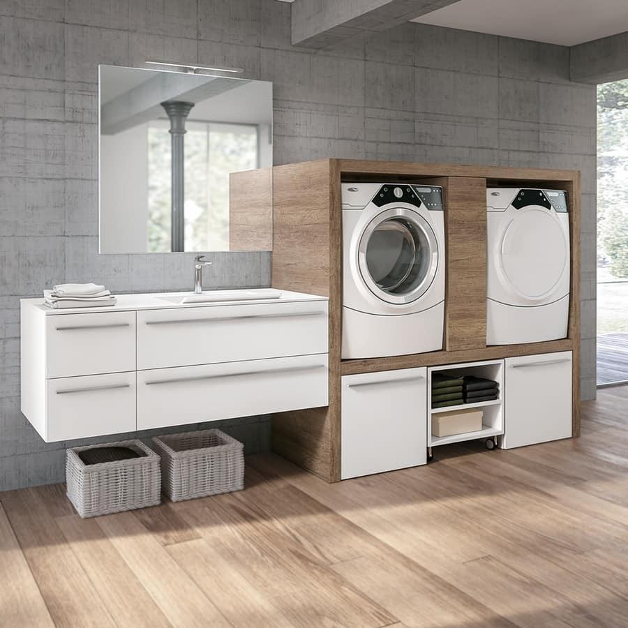 Mobile lavanderia con vano per lavatrice ed asciugatrice idfdesign - Mobile lavatrice asciugatrice ...