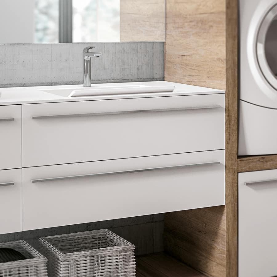 Mobile lavanderia con vano per lavatrice ed asciugatrice for Mobile per asciugatrice