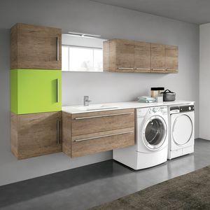 Stone comp. 08, Spaziosa soluzione per arredo lavanderia