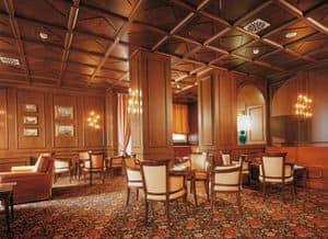 Regency Hotel Hall, Arredamenti su misura per albergo, boiserie in legno