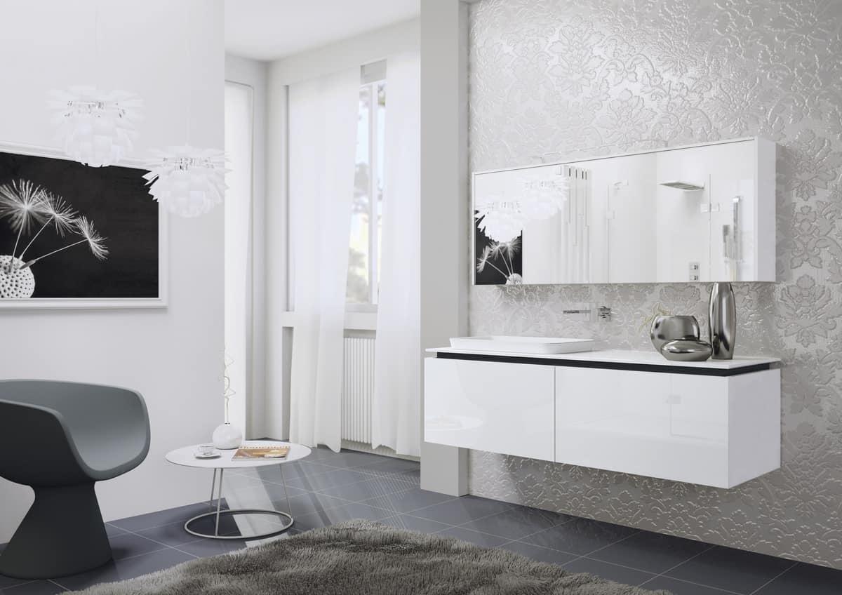 Mobile da bagno laccato con specchio contenitore idfdesign for Specchio bagno 3d