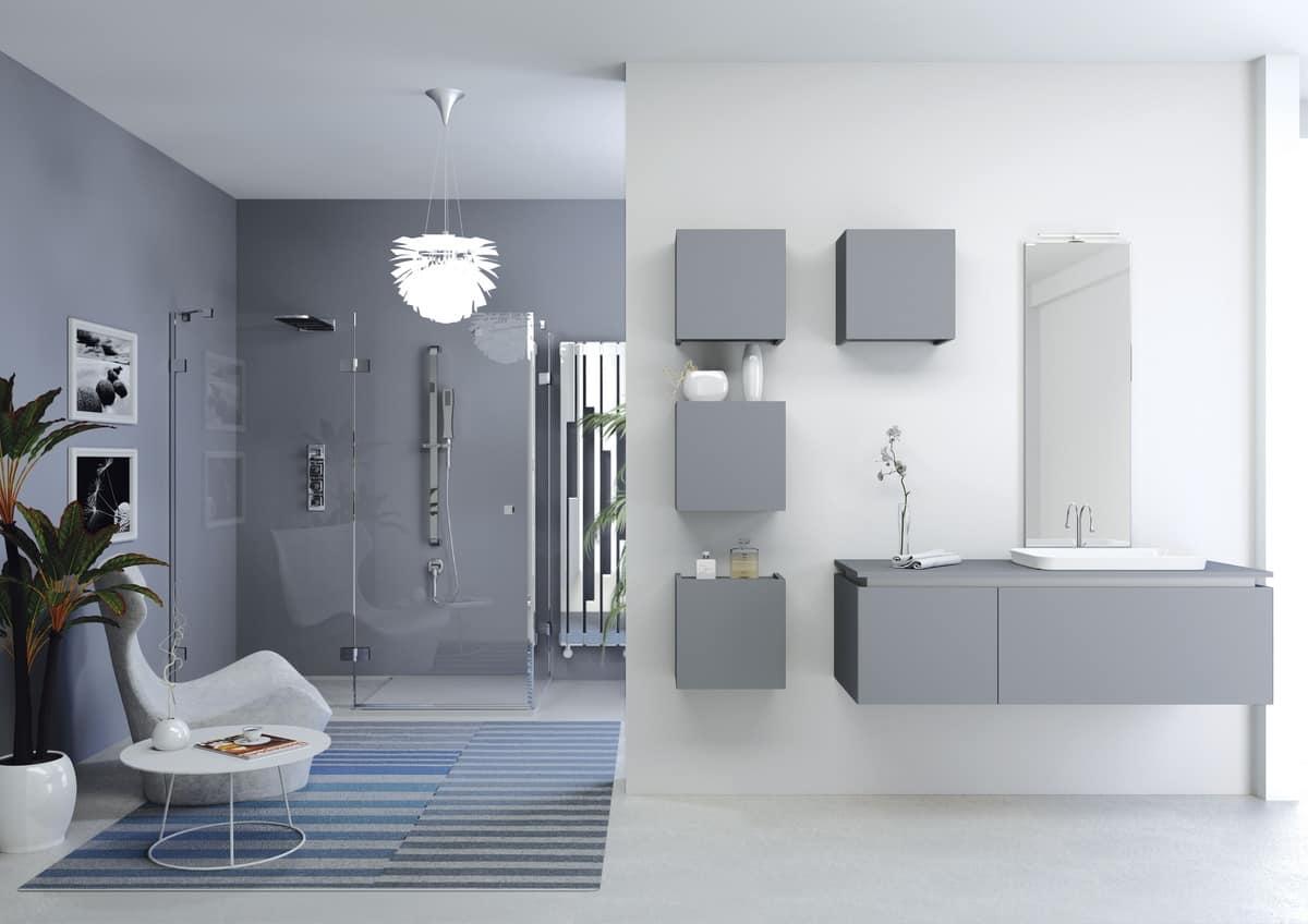 Composizione per bagno con mobili pensili idfdesign - Pensili per bagno ...