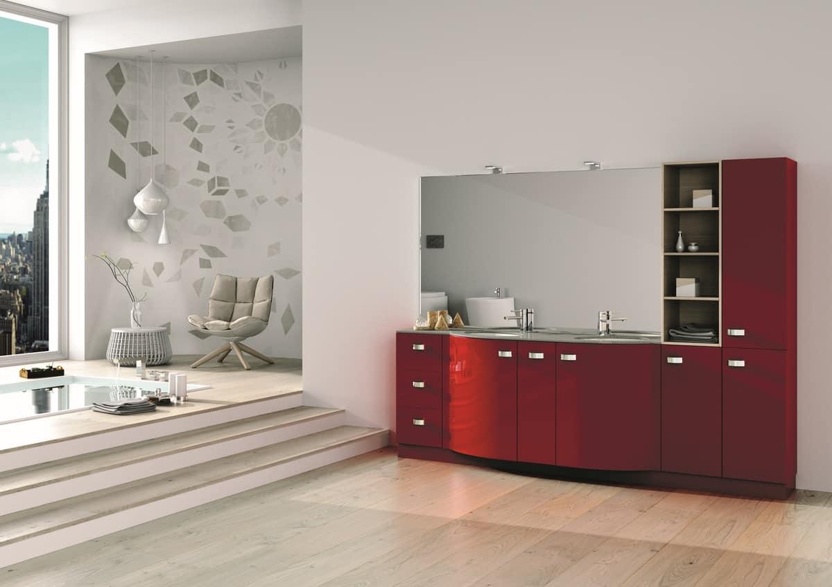Arredo per bagno con armadi cassetti e specchio idfdesign - Armadi per bagno classici ...