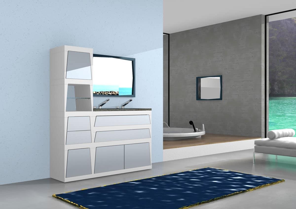 Mobile modulare da bagno con cassetti e antine in laminato idfdesign - Mobile cassetti bagno ...