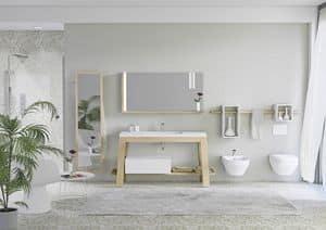 Quaderno1 Bath table comp.1, Mobile da bagno in frassino, con specchio per accappatoi