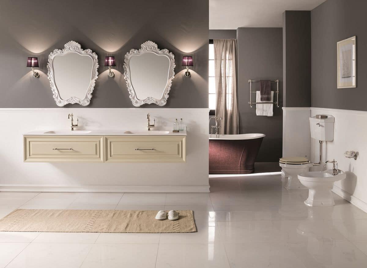 Biografia arredo bagno contemporaneo con base sospesa per lavabo laccata bianco opaco con - Bagno contemporaneo ...