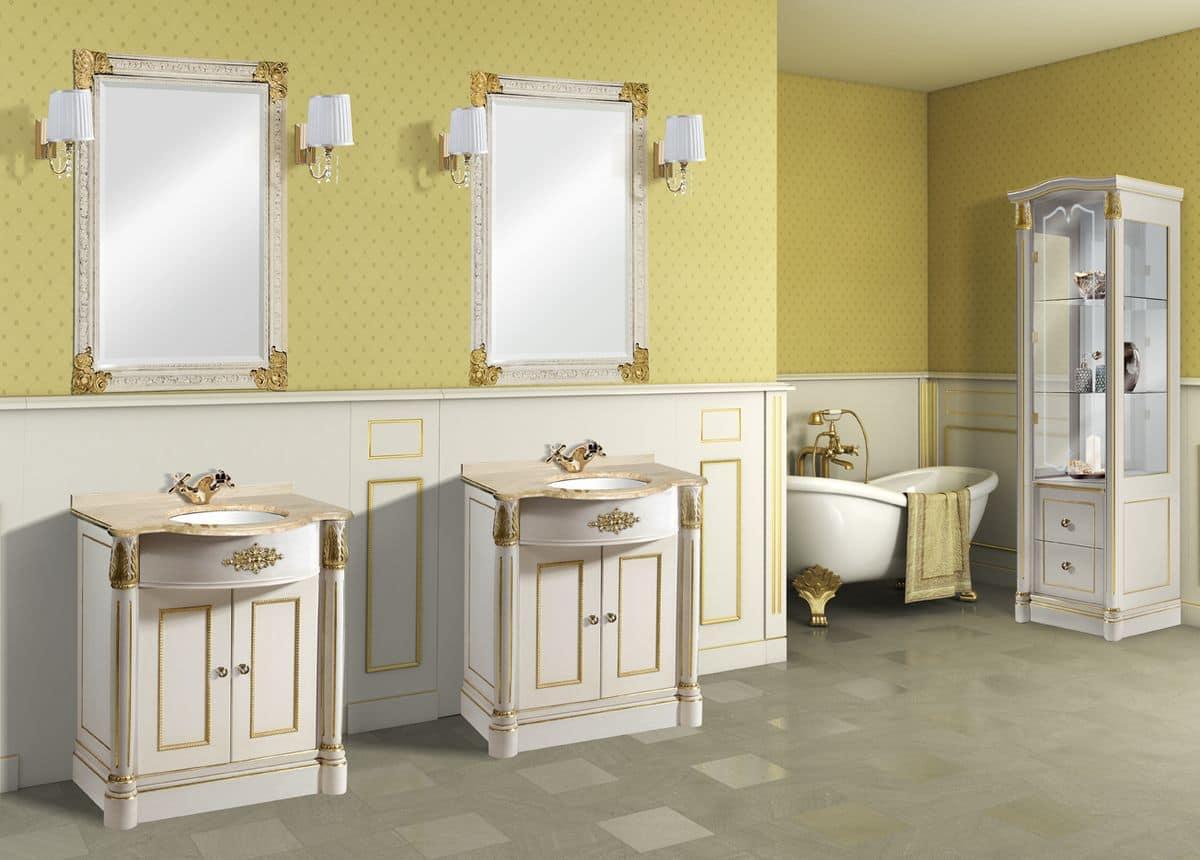 Retr capri composizione arredo bagno con mobile laccato bianco con decorazioni - Mobile bagno classico bianco ...