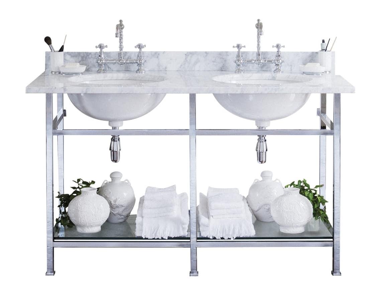 Consolle in marmo di carrara con doppio lavabo idfdesign - Arredo bagno marmo ...