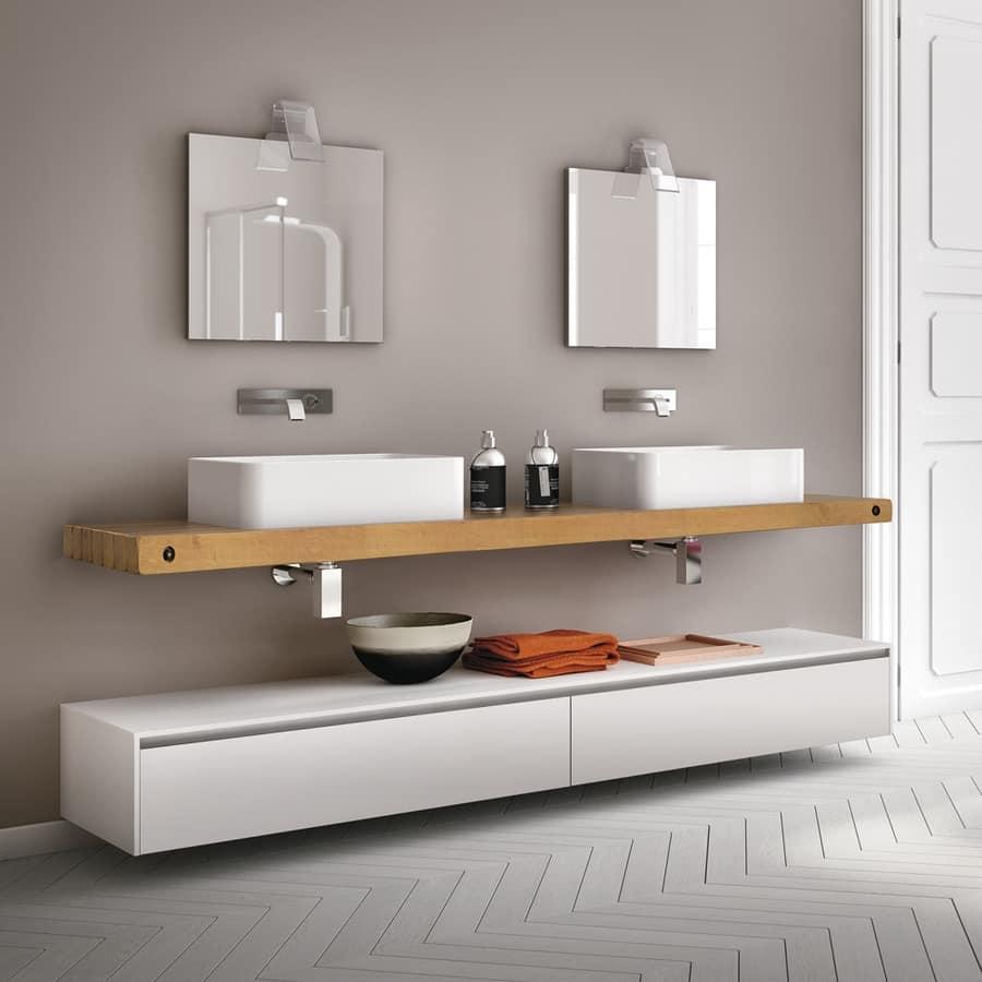 Mobile da bagno con piano in rovere naturale per bar for Mobili di bagno