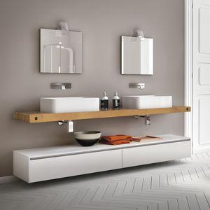 Change comp. 24, Mobile da bagno con piano in rovere naturale, per bar