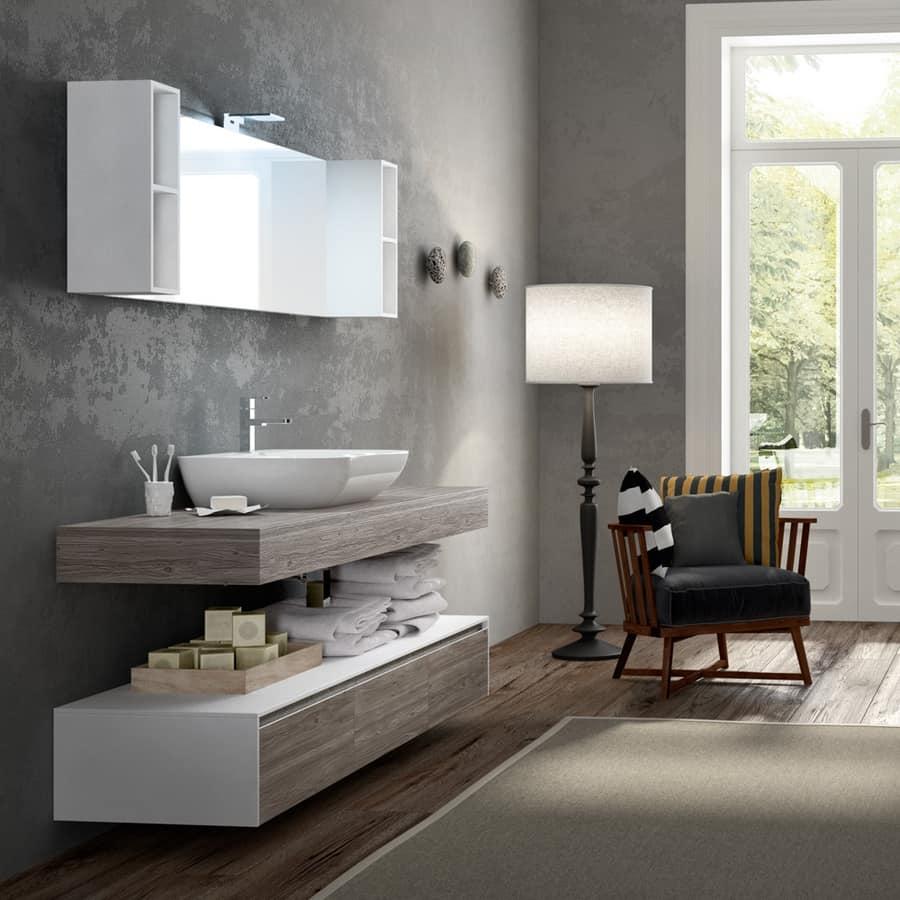 Mobile da bagno con effetto legno e lavabo in ceramica idfdesign - Bagno effetto legno ...