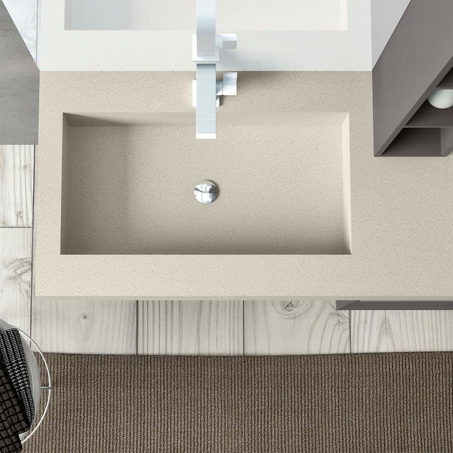 Mobile bagno con lavabo integrato in resina per hotel for Lavabo bagno resina