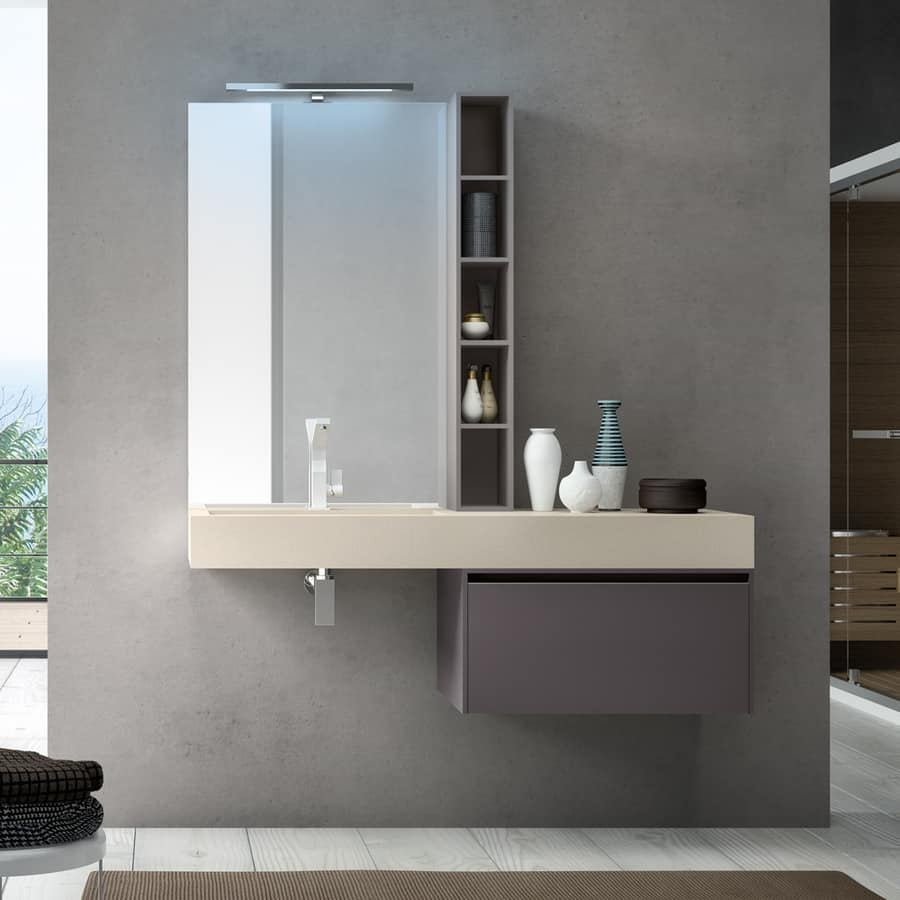 Mobile bagno con lavabo integrato in resina per hotel for Arredo bagno it