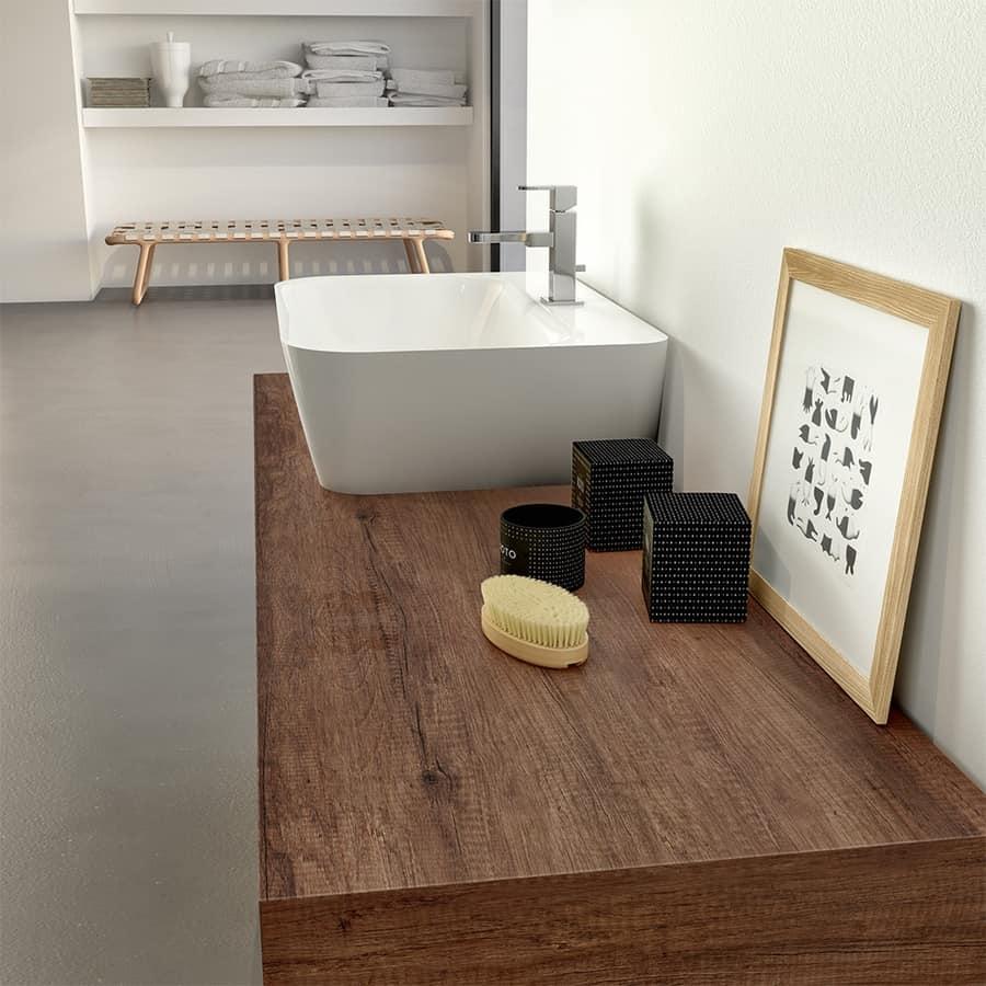 Mobile bagno in melaminico con lavabo esterno in ceramica - Arredo bagno semplice ...