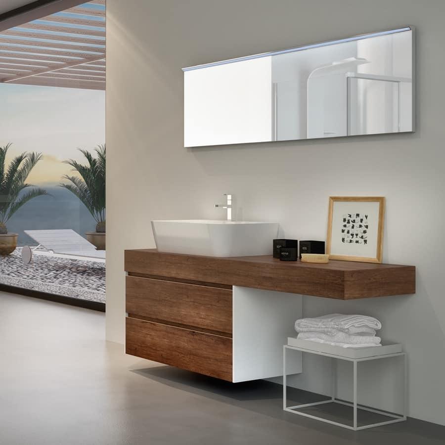 Mobile bagno in melaminico con lavabo esterno in ceramica for Mobili legno design