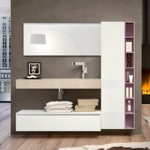 Change comp. 32, Mobile bagno moderno con cassetti, armadio e mensole