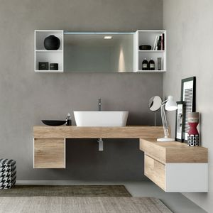 Change comp. 33, Mobile bagno, in legno naturale con effetto ruvido
