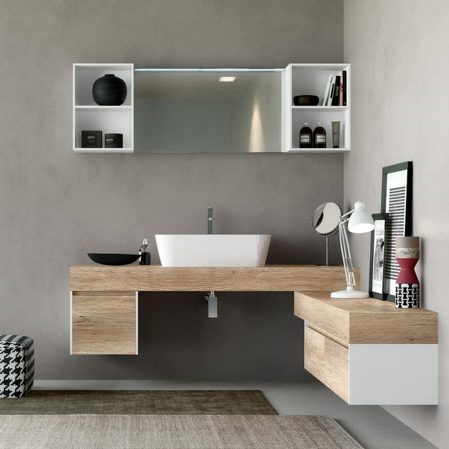 Mobile bagno in legno naturale con effetto ruvido idfdesign for Mobile bagno legno