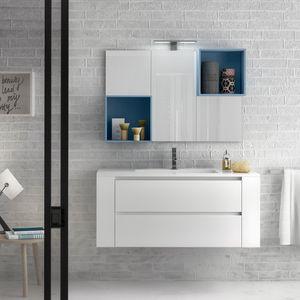 Change comp. 38, Mobile da bagno con top in quarzo resina, per bar