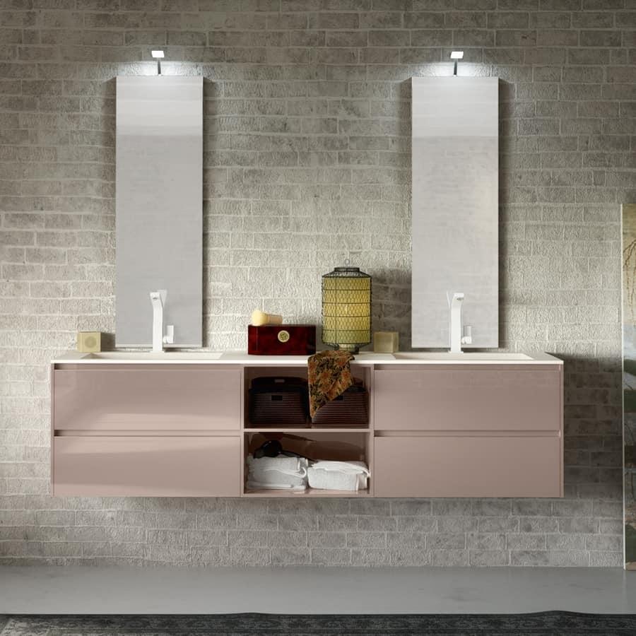 mobile bagno con top in eco malta con lampada eco led
