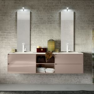 Change comp. 39, Mobile bagno con top in eco-malta, con lampada eco-LED