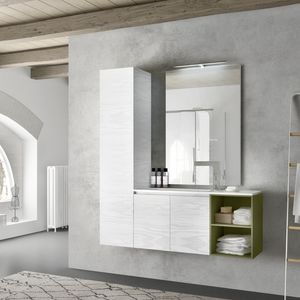 Change comp. 40, Mobile da bagno in melaminico laccato, con armadio alto
