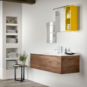 Change comp. 44, Mobile da bagno in stile natural, con effetto ruvido
