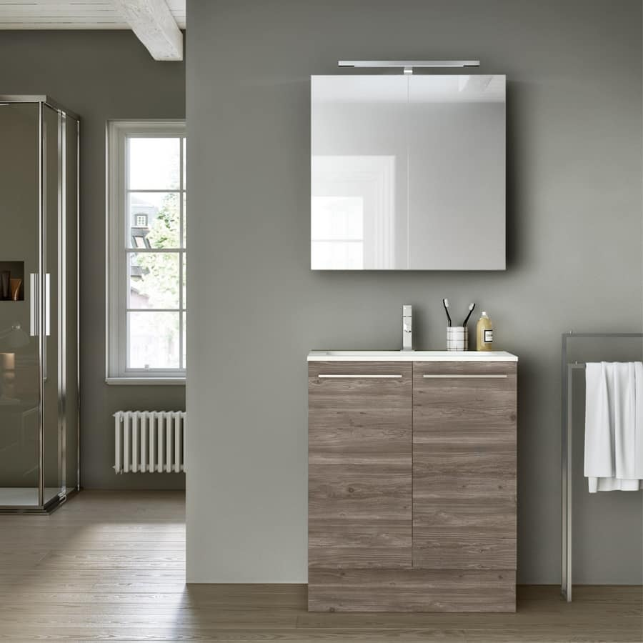 mobile da bagno con specchio contenitore per alberghi