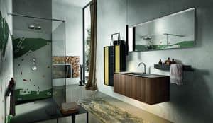 Chrono 306, Arredamento per bagno con colonna in alluminio e vetro