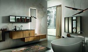 Chrono 310, Composizione per bagno in rovere antico e marmo Marengo