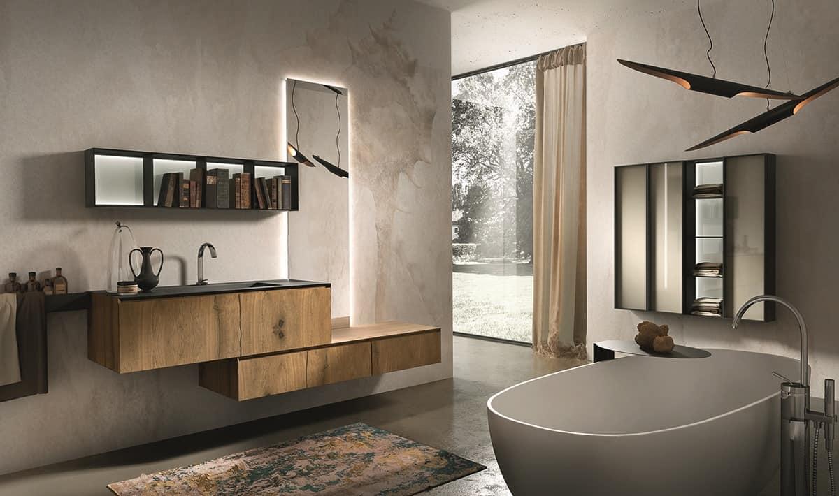 Composizione per bagno in rovere antico e marmo marengo idfdesign