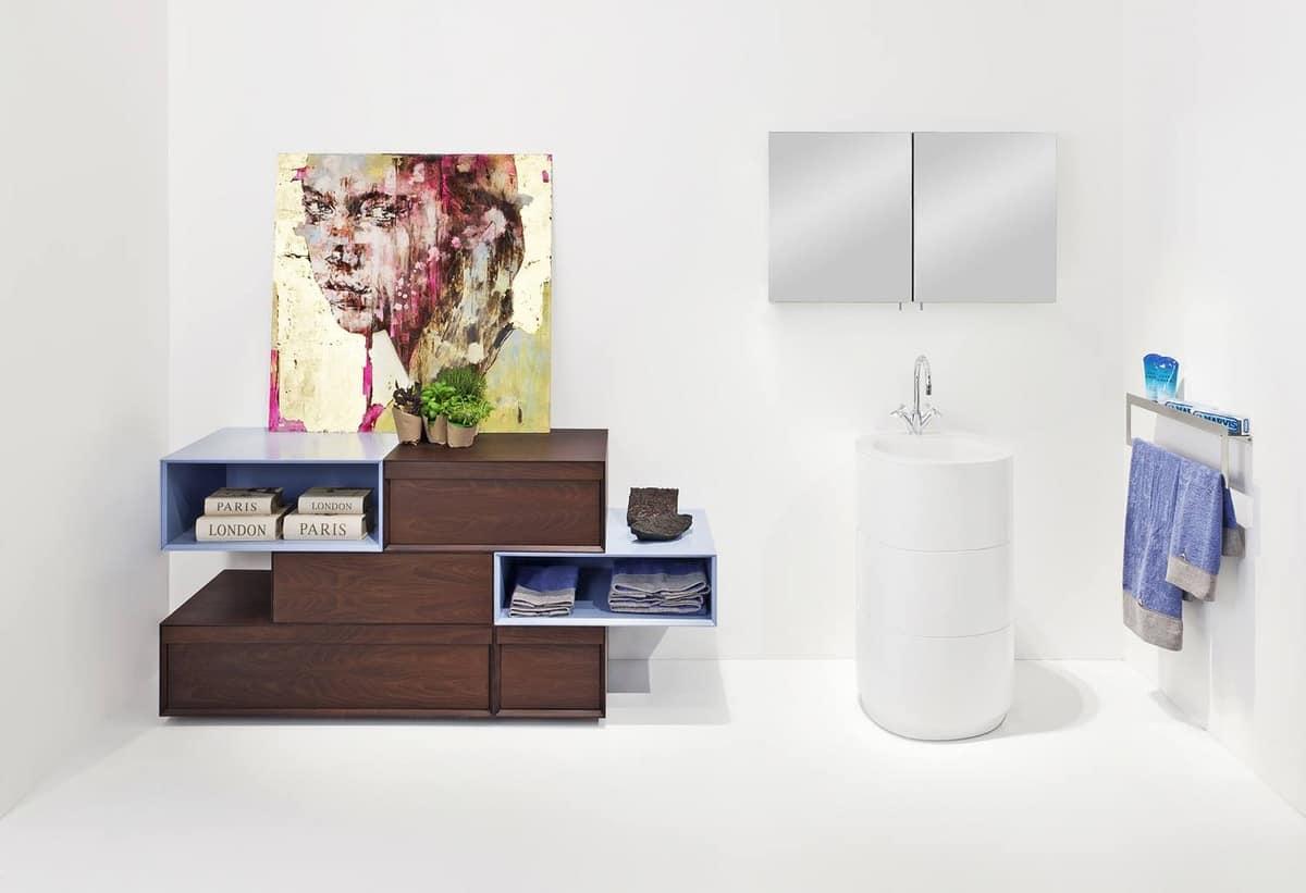 Toilette Da Bagno : Mobile da bagno con cassetti finitura azzurro e acacia idfdesign