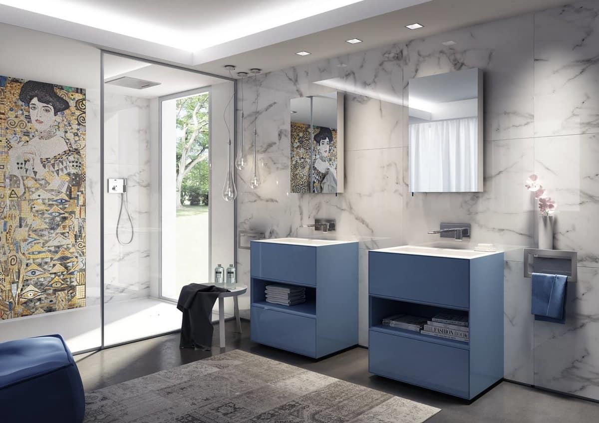 Mobili da bagno azzurro opaco con lavabo integrato - Mobili da bagno con lavabo ...