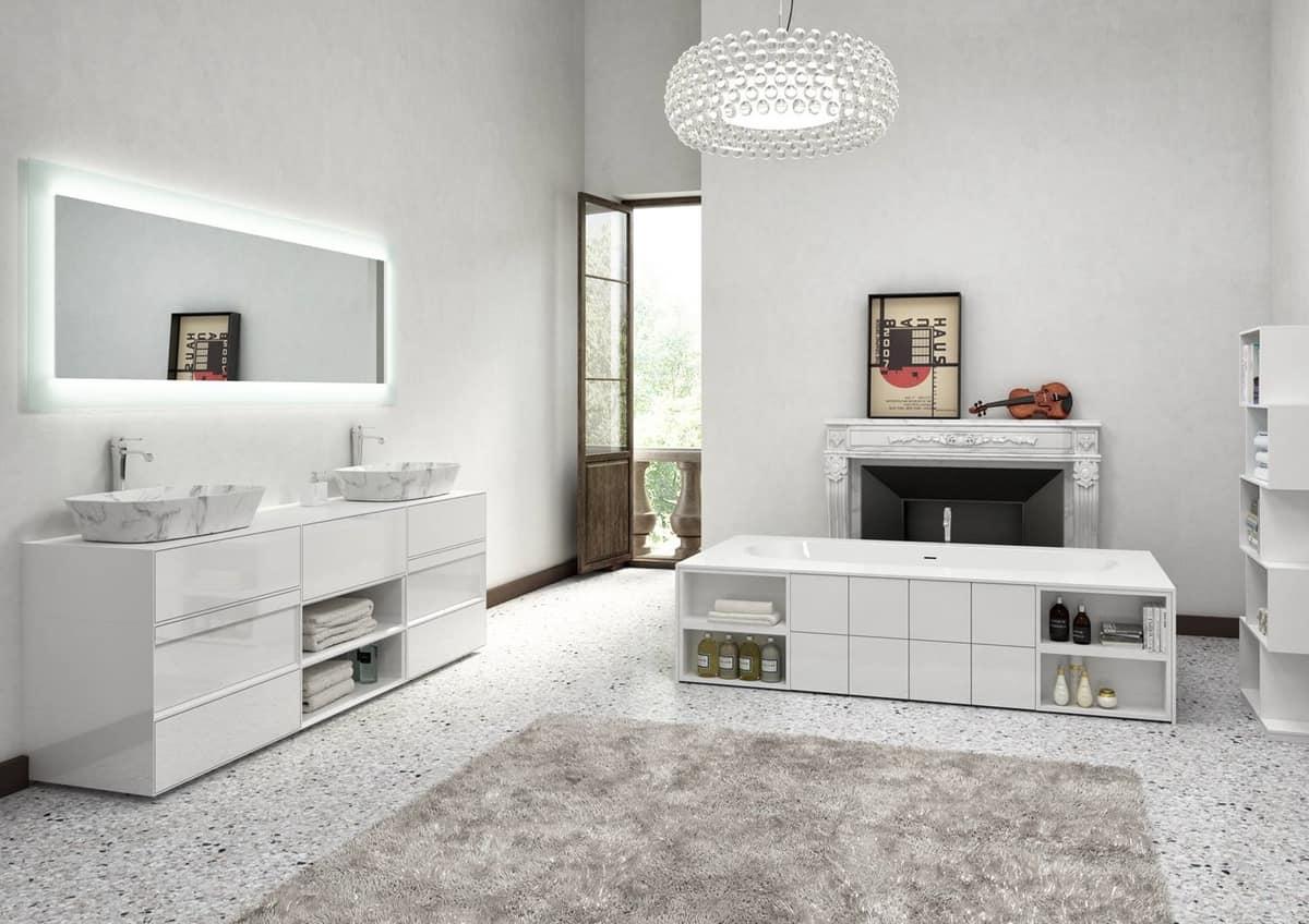 Mobile da bagno laccato bianco lucido con lavabo in marmo idfdesign - Mobile bagno bianco lucido ...