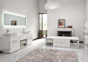 Class 05, Mobile da bagno laccato bianco lucido, con lavabo in marmo
