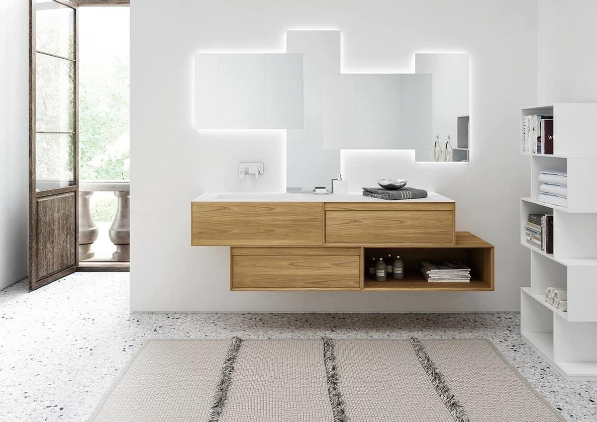 mobili bagno argentati, con triplo lavabo | idfdesign - Mobili Bagno Con Lavabo Da Incasso