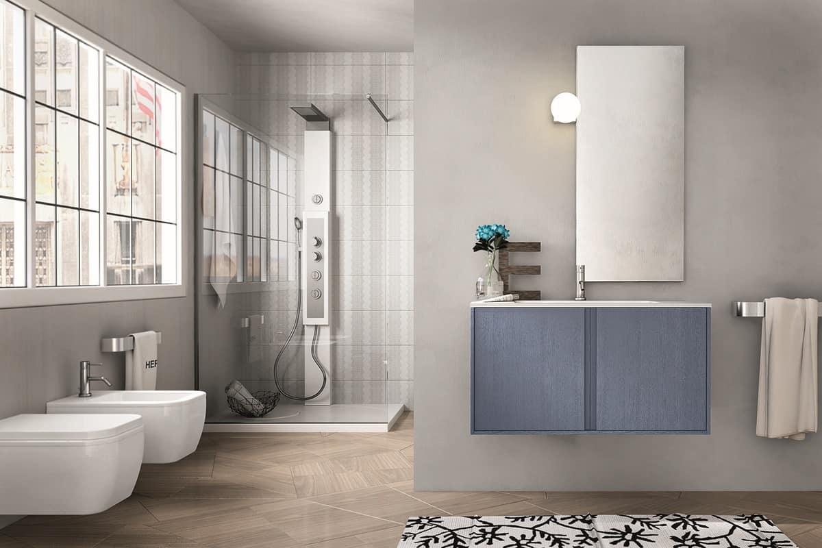 Mobile per bagno in legno con specchiera semplice idfdesign - Arredo bagno trento ...