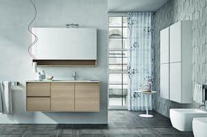 Cloe 30, Composizione di mobili per bagno con mensola e specchiera