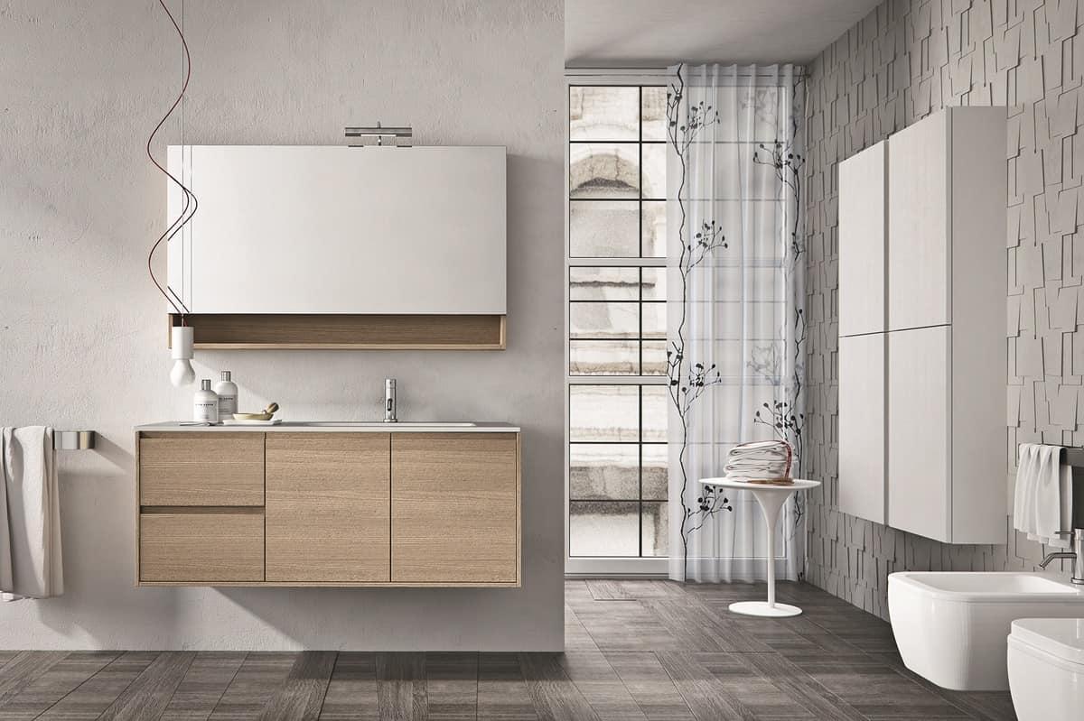 Composizione di mobili per bagno con mensola e specchiera for Specchiera bagno