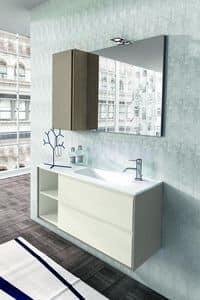 Cloe 33, Mobili per bagno in rovere con specchiera e pensile in legno