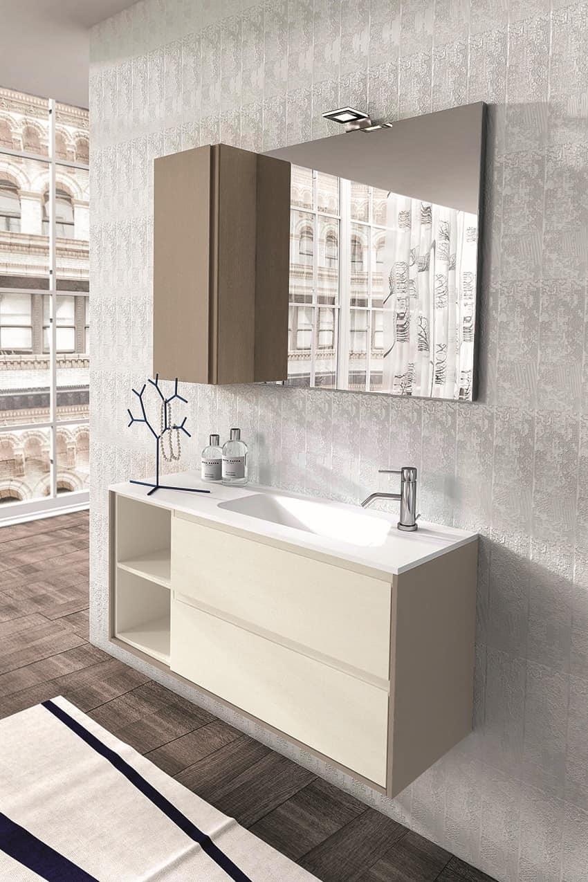 Mobili per bagno in rovere con specchiera e pensile in - Specchiera bagno legno ...